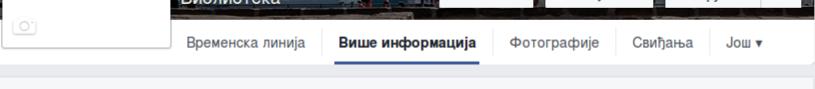 Uobičajeni prikaz menija na Fejsbuk stranici
