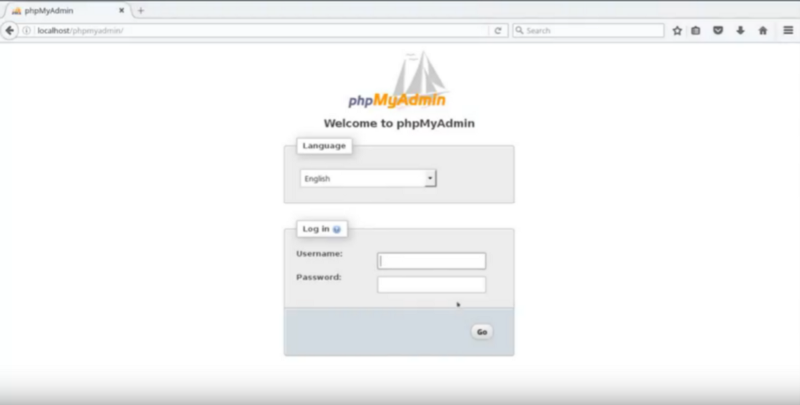 Unestite korisničko ime phpmyadmin i lozinku koju ste kreirali prilikom instalacije